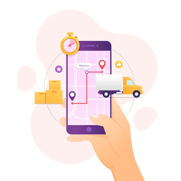 Отслеживание доставки заказа с помощью мобильного устройства Premium векторы