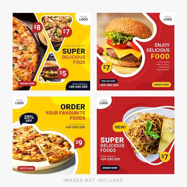 食品ソーシャルメディアバナー投稿テンプレートセット Premiumベクター