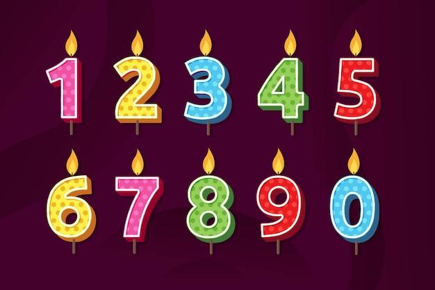 誕生日記念日番号キャンドルベクトル図のセット Premiumベクター