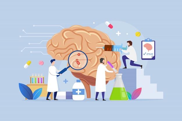 Концепция дизайна лечения заболеваний мозга с крошечными людьми Premium векторы