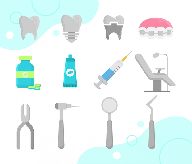 Стоматолог иконки Premium векторы