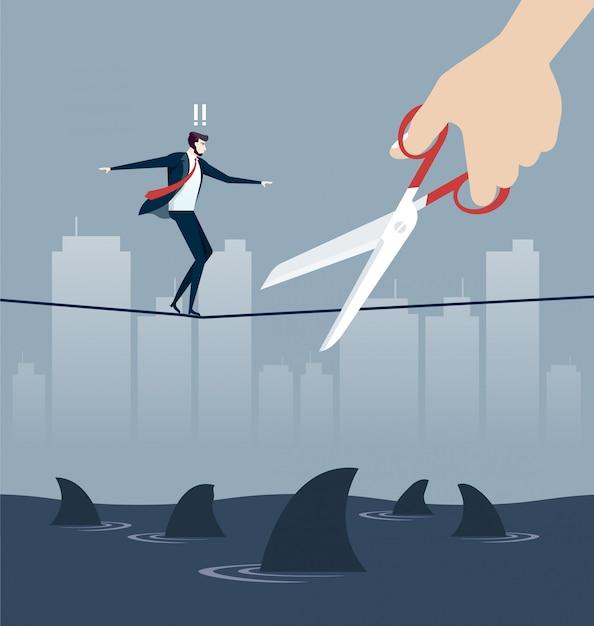 ビジネスリスクの概念で手切断ロープ Premiumベクター