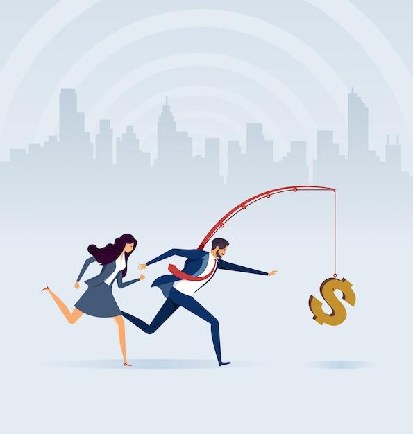 釣り竿にお金を追いかけてビジネス人々 Premiumベクター