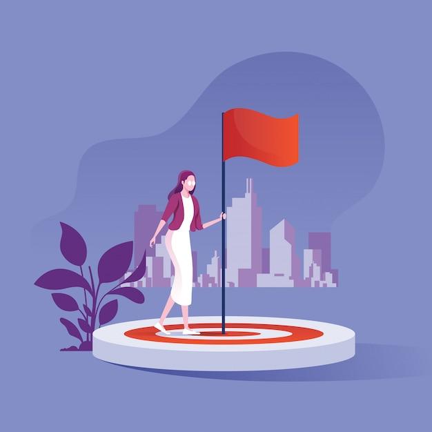 達成の比喩としてターゲットに立っている旗を持ったビジネスマン Premiumベクター