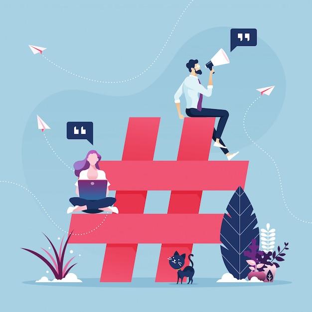 ハッシュタグシンボル-ソーシャルメディアマーケティングの概念を持つ人々のグループ Premiumベクター