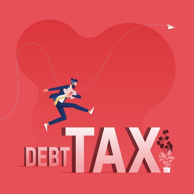 借金と税の単語を飛び越えて実業家借金と税の概念を克服 Premiumベクター