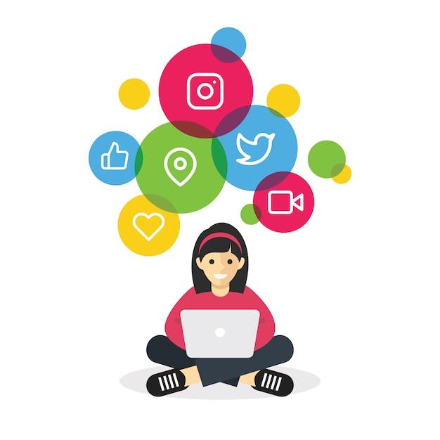 インターネットのソーシャルメディアを閲覧するラップトップで座っている女の子 Premiumベクター