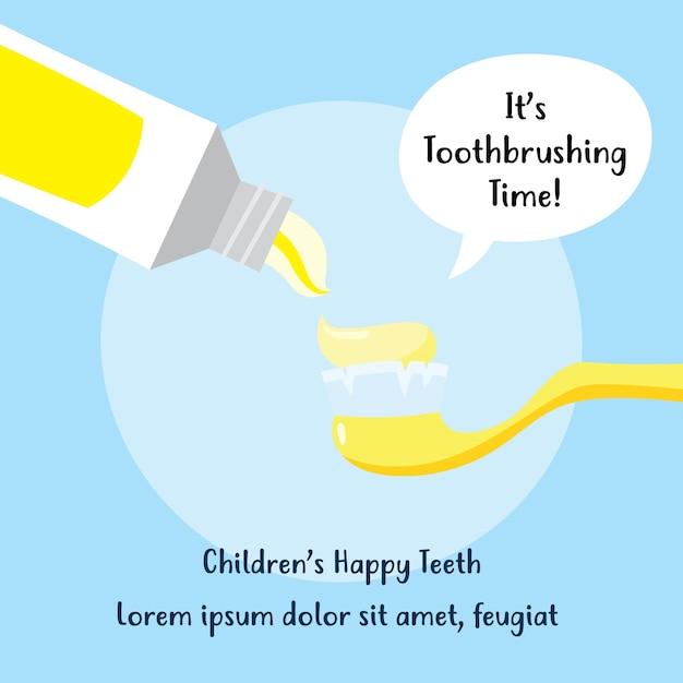 Рекламная кампания по вопросам гигиены детей. дизайн кисти и полости рта Premium векторы