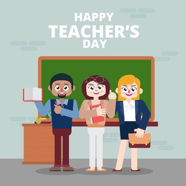 教師が教室でハッピーティーチャーズの日を祝う Premiumベクター