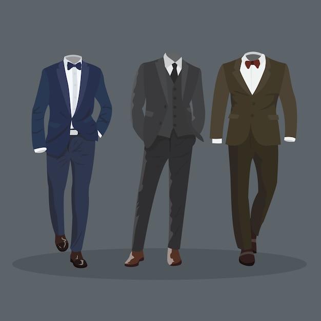 エレガントフォーマルマンドレススーツ Premiumベクター