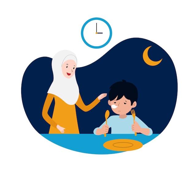 イスラム教徒の母親は、断食のベクトル図を開始する前に、サフールまたは夜明け前の食事で眠そうな子供をサポートしています。家族のラマダン活動コンセプトデザイン。 Premiumベクター