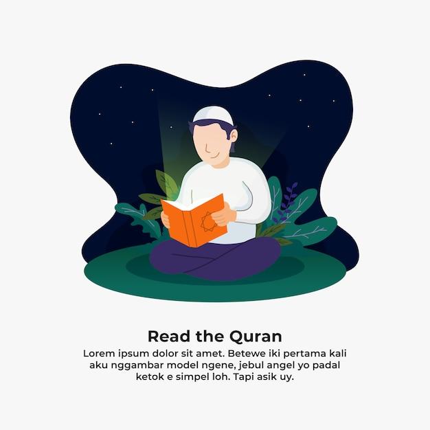 コーランを読んで、神聖な本のイラストの光で照らされた男。 Premiumベクター
