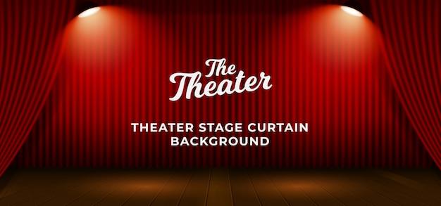 木製の床ベースと二重明るいスポットライトランプベクトルイラスト赤劇場舞台幕。テキストテンプレートの背景 Premiumベクター