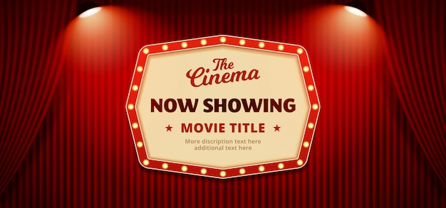 Теперь показ фильма кино плакат плакат фон Premium векторы