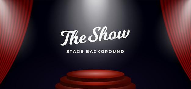 オープンシアターカーテンの背景に舞台の表彰台のスポットライト Premiumベクター