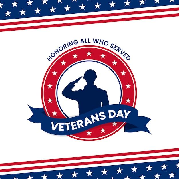 務めたすべての人を称える幸せな退役軍人の日。アメリカ国旗グラフィック飾りと兵士軍事挨拶シルエットイラスト Premiumベクター