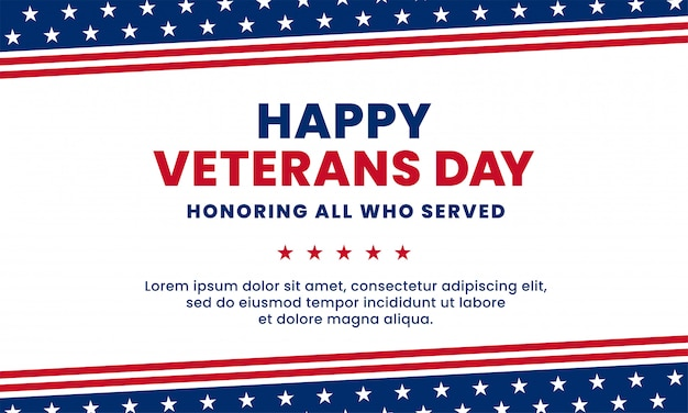 奉仕したすべての人を称える幸せな復員軍人の日。アメリカ国旗装飾要素ベクトル図 Premiumベクター