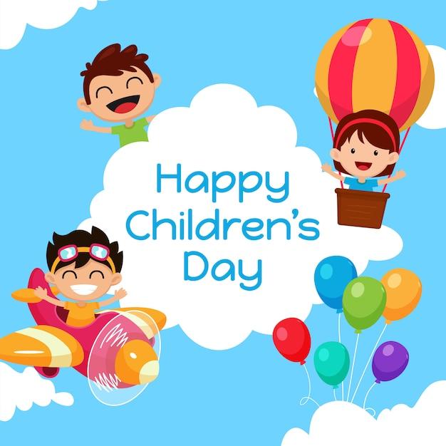 幸せな子供の日の背景 Premiumベクター