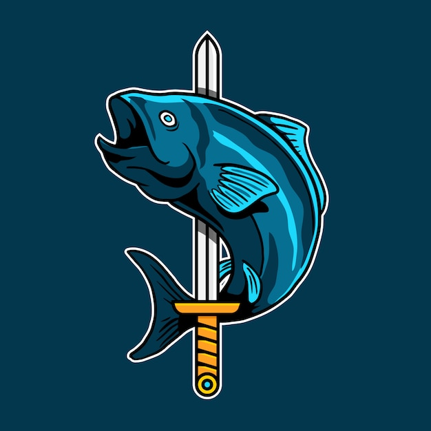 Меч рыбы киберспорт векторный логотип дизайн значка Premium векторы