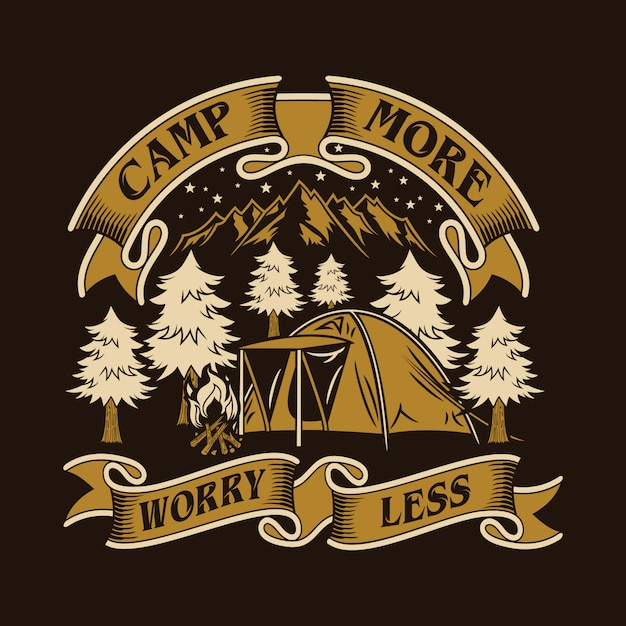 キャンプもっと心配少ない Premiumベクター