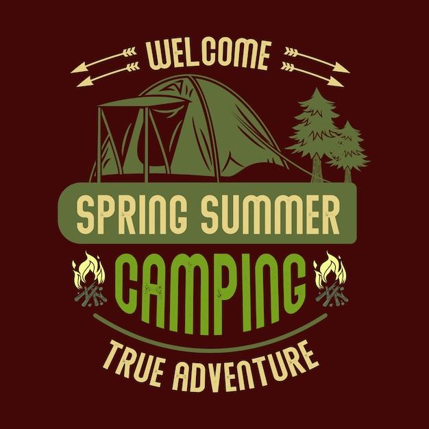 ようこそ春夏キャンプ真の冒険 Premiumベクター