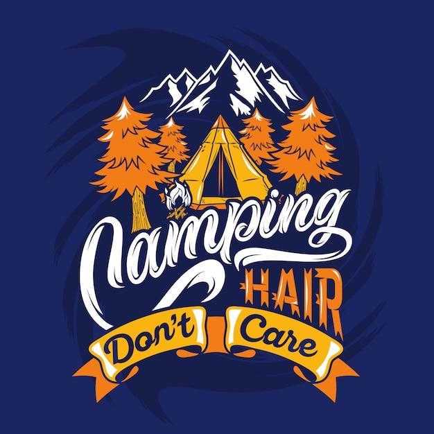 Кемпинг волосы не волнует, говоря цитаты Premium векторы