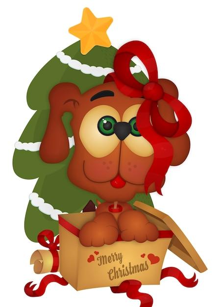 Симпатичная щенка рождественская открытка Premium векторы