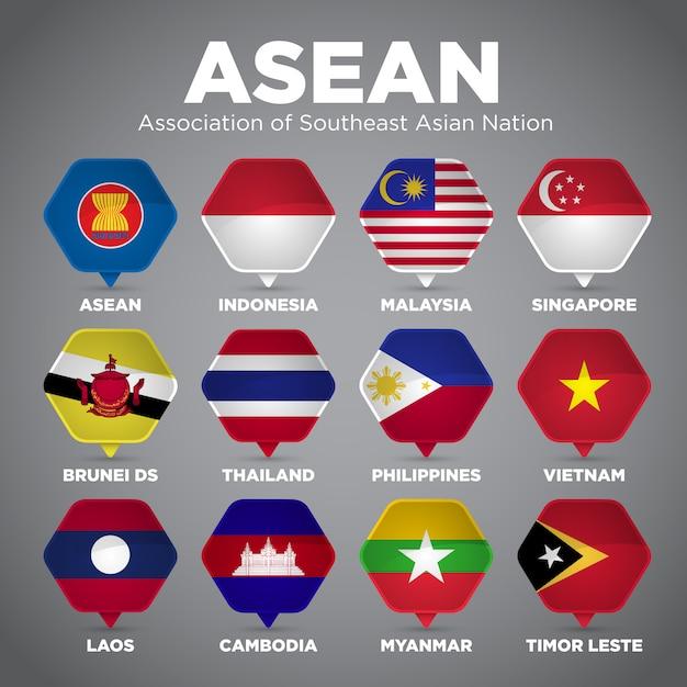 Флаги асеан Premium векторы
