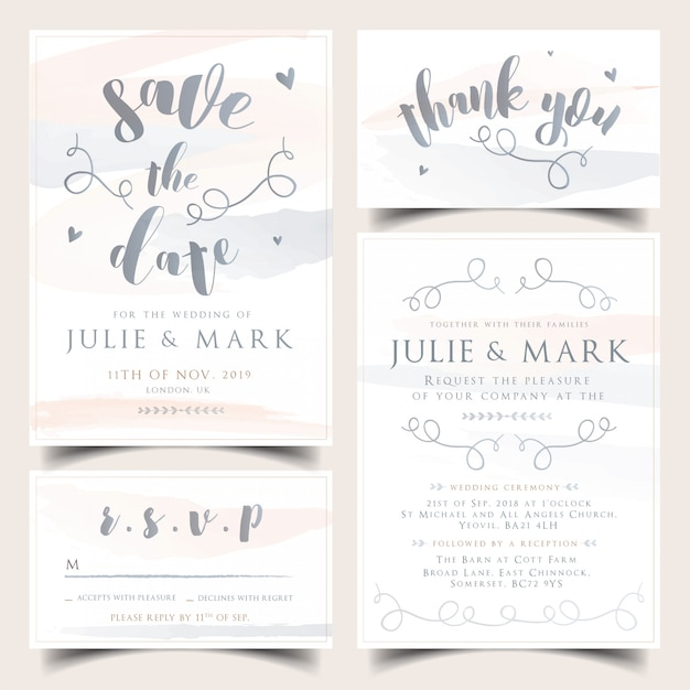 ニュートラルな水彩の結婚式の招待状セット Premiumベクター