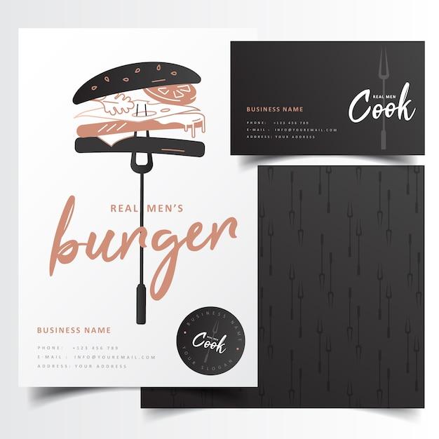現代黒バーガーレストランのブランディング Premiumベクター
