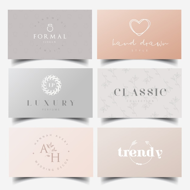 Редактируемые женские логотипы и шаблоны визиток Premium векторы
