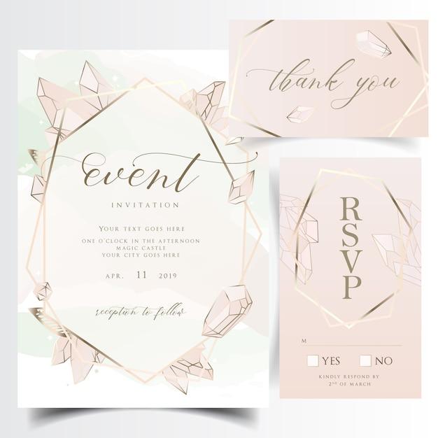 幾何学的な花の結婚式招待状の宝石とカード Premiumベクター
