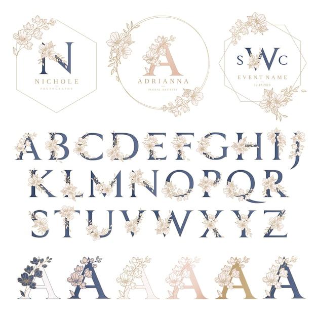 Свадебный логотип шаблон с цветочным венком Premium векторы