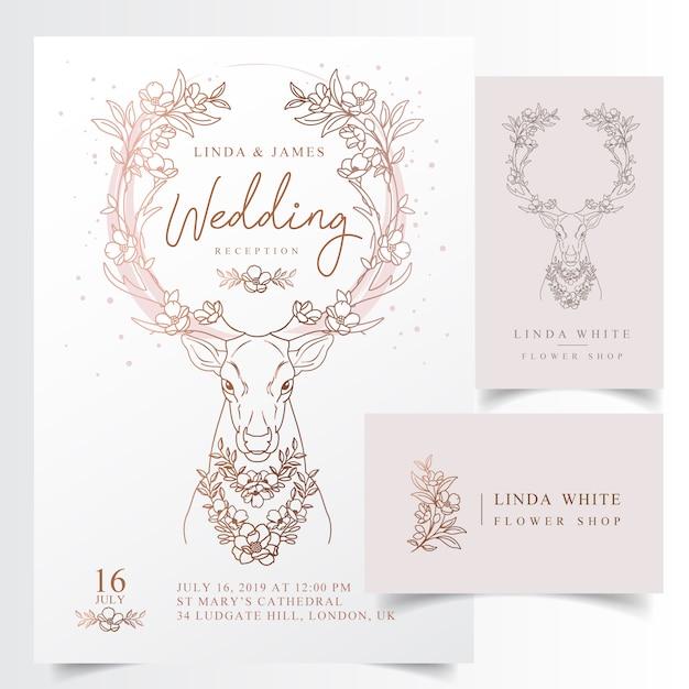 Рустикальные цветочные рога свадебные приглашения Premium векторы