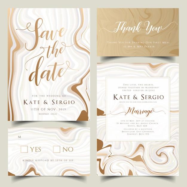 ゴールドとパステル大理石の結婚式の招待状セット Premiumベクター