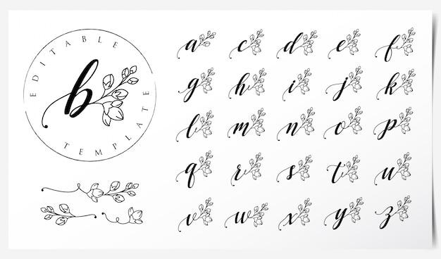 蘭の花の要素を持つロゴデザイン Premiumベクター