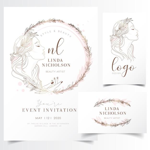 イベント招待状のテンプレートのための花の花輪で美しい若い女性 Premiumベクター