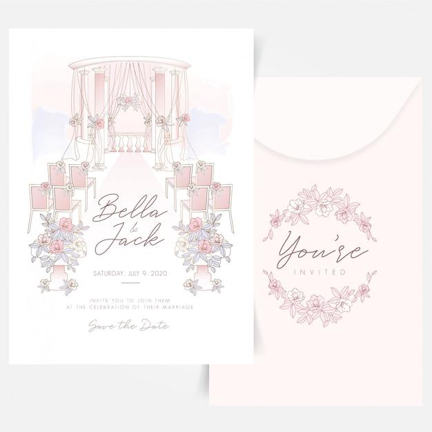 屋外の結婚式は花のロゴデザインと組成を設定 Premiumベクター