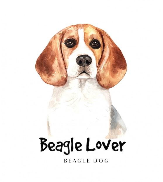 印刷用のポートレートビーグル犬 Premiumベクター