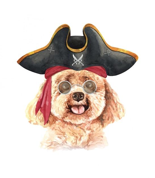 サングラスと海賊の帽子と水彩のプードル。 Premiumベクター