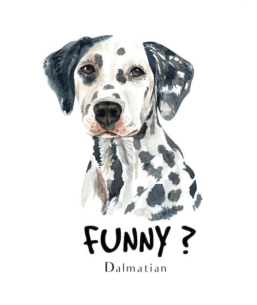 印刷用ダルメシアン犬の水彩画。 Premiumベクター