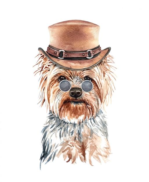 ヨークシャーテリア犬の衣装と水彩画。 Premiumベクター