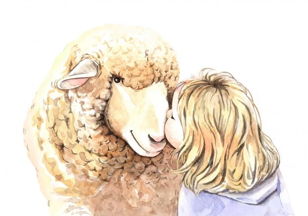 水彩画の女の子は羊のイラストにキスします。 Premiumベクター