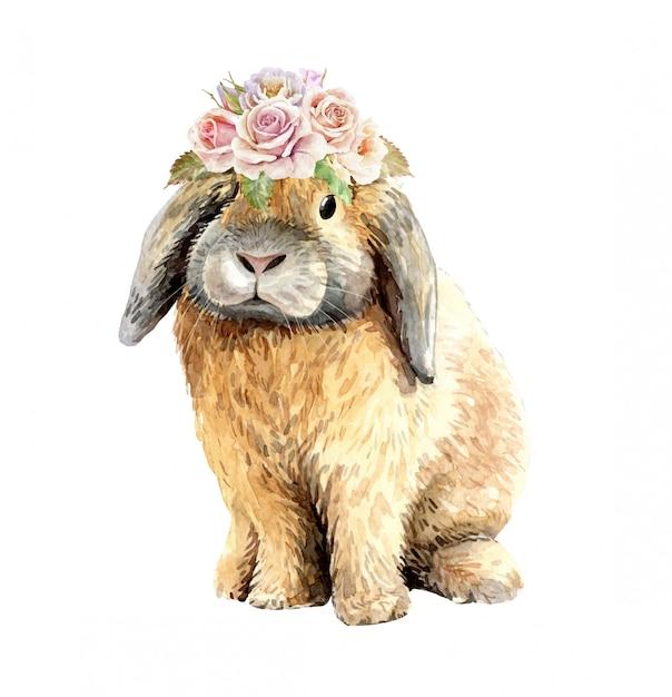 フラワーブーケクラウンと水彩のウサギ Premiumベクター