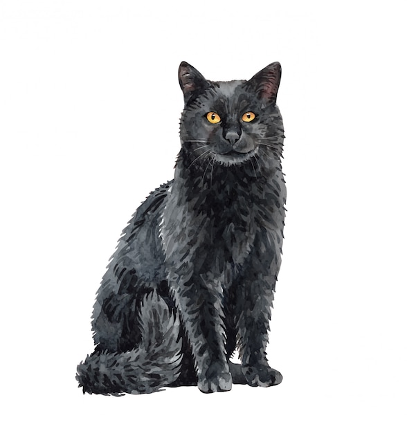 Акварель черная кошка сидит. краска акварельная кошка. Premium векторы