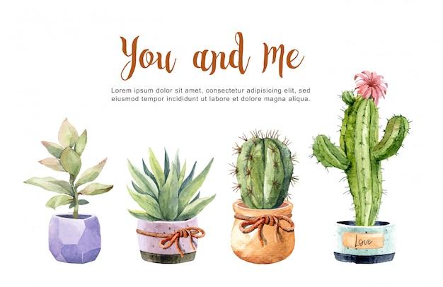 コレクション水彩画サボテンと多肉植物の鍋。 Premiumベクター