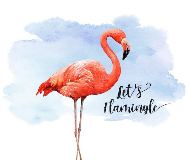 カラフルな背景を持つ水彩画の熱帯鳥フラミンゴ。 Premiumベクター
