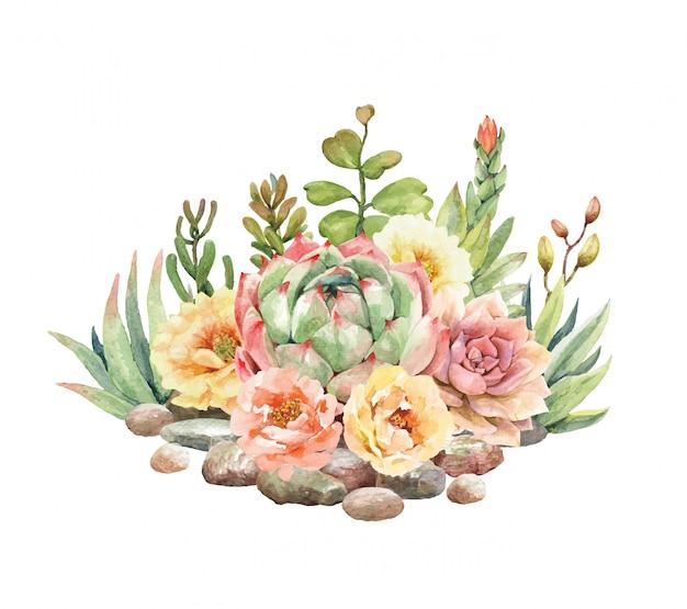 水彩サボテンと多肉植物は石に囲まれています。 Premiumベクター