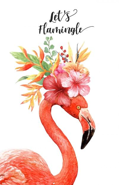 頭の上の熱帯の花束と水彩のフラミンゴ。 Premiumベクター