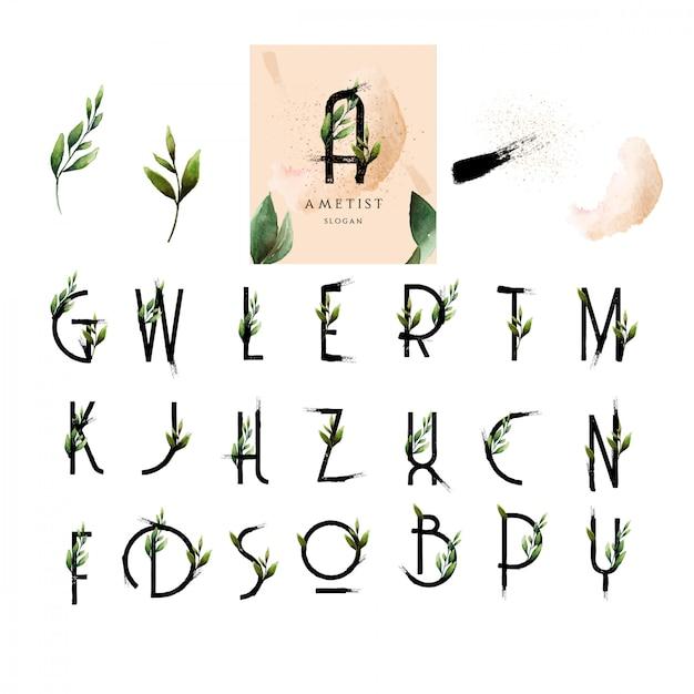 アルファベットの花のフォントはペンキの葉の水彩風 Premiumベクター
